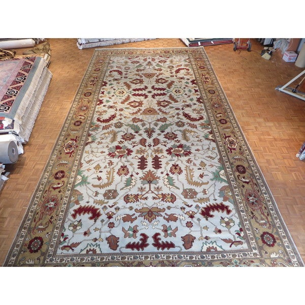 Hand Knotted Sky Blue Serapi Heriz with Wool Oriental Rug (11'11 x 23'9) 23606922