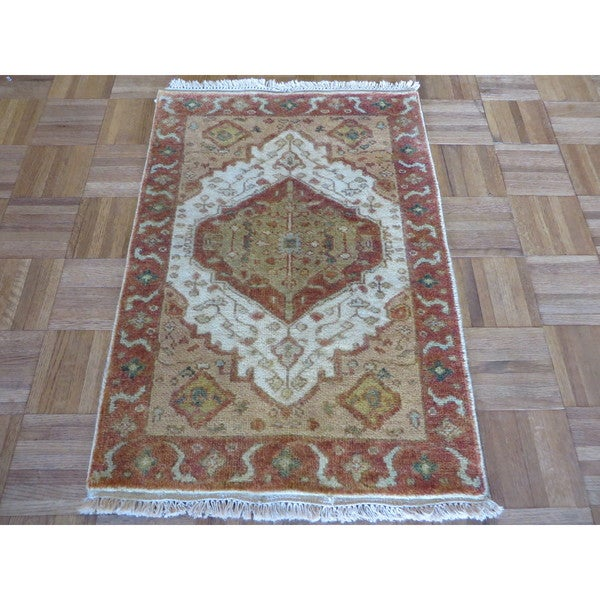 Hand Knotted Ivory Fine Serapi Heriz with Wool Oriental Rug (2'1 x 3) 23606940