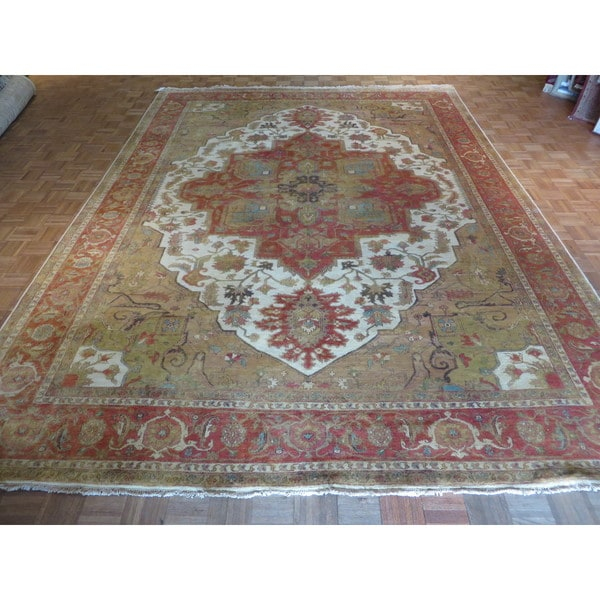 Hand Knotted Ivory Fine Serapi Heriz with Wool Oriental Rug (10'1 x 13'9) 23606943