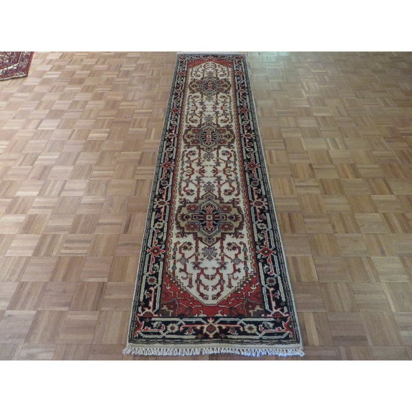 Hand Knotted Ivory Serapi Heriz with Wool Oriental Rug (2'7 x 10'3) 23606986