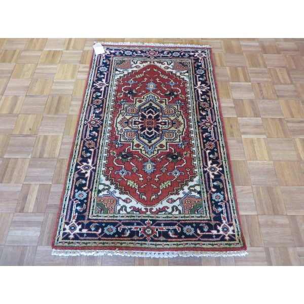 Hand Knotted Rust Red Serapi Heriz with Wool Oriental Rug (3 x 4'9) 23606987