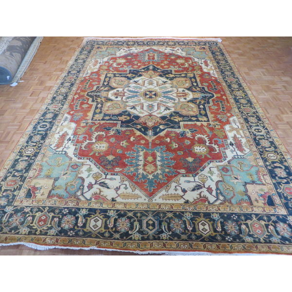 Hand Knotted Rust Orange Fine Serapi Heriz with Wool Oriental Rug (10 x 14'6) 23607004