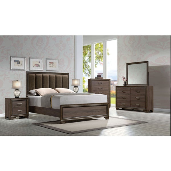 acme furniture cyrille 4 piece bedroom set walnut 23611377 photo