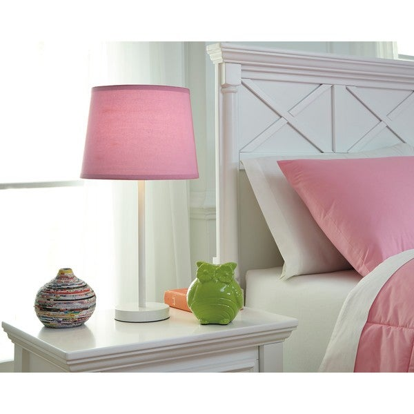 Signature Design by Ashley Shonie White/Pink Metal Table Lamp 23612108