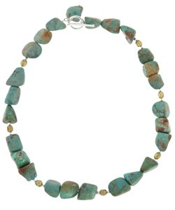 Glitzy Rocks Sterling Silver Turquoise Bead Necklace