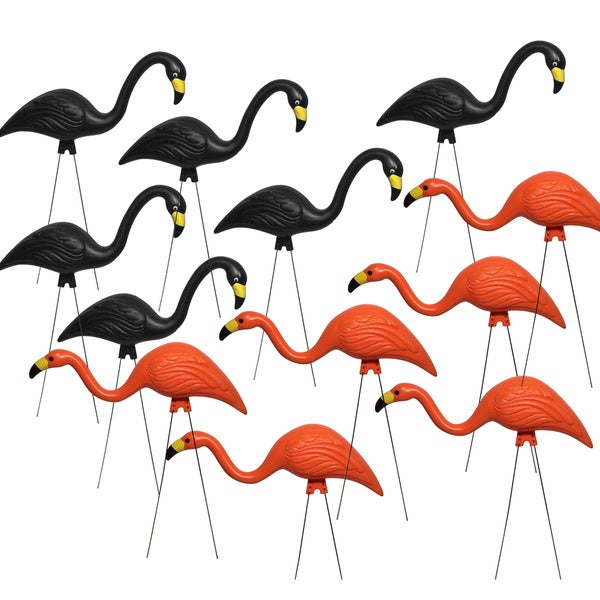 Bloem Spooky Orange and Black Flamingo Halloween Garden Decor (12-pack) 23621987