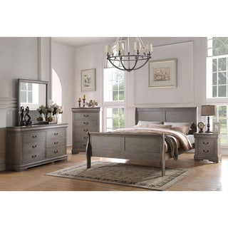 Acme Furniture Louis Philippe Antique Grey 4-Piece Sleigh Bedroom Set