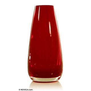 Handmade Ember Blown Glass Art Vase (Brazil)