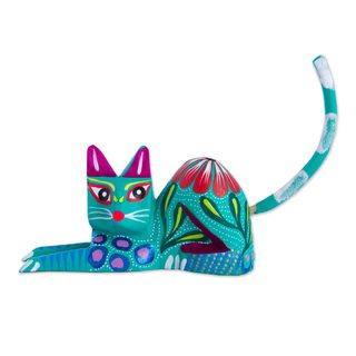 Handmade Excited Cat in Teal Wood Sculpture (Mexico)