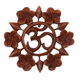 Handmade Wood Relief Panel, 'Soul at Peace' (Indonesia) - Brown