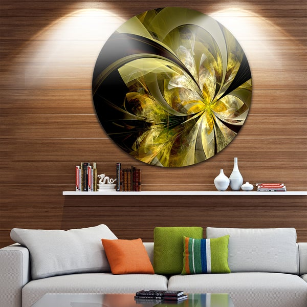 Designart 'Bright Golden Fractal Flower Design' Modern Floral Large Disc Metal Wall art (As Is Item) 31411262