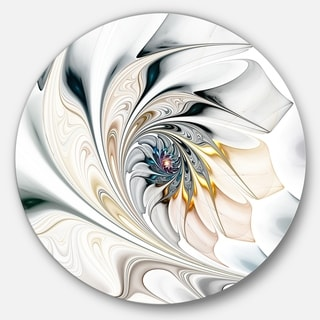 Designart 'White Stained Glass Floral Art' Floral Circle Metal Wall Art