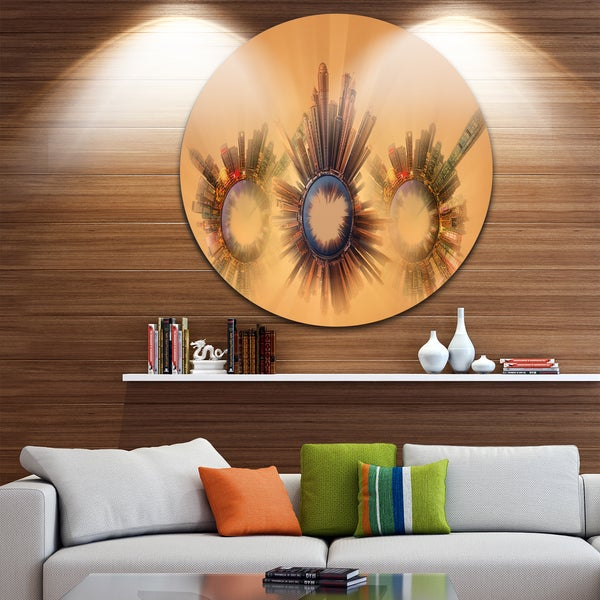 Designart 'Miniature Earth Planets with Skyscrapers' Abstract Disc Metal Artwork 23668165