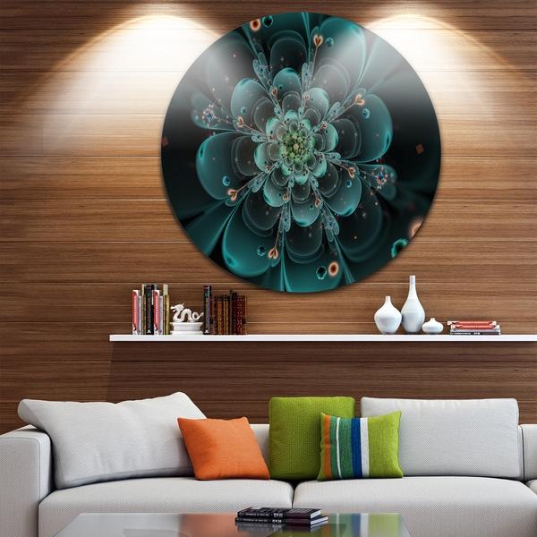 Designart 'Full Bloom Fractal Flower in Blue' Flower Circle Wall Art 23669490