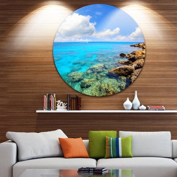 Designart 'Bright Summer Day in Sea' Seashore Disc Metal Wall Art 23669880