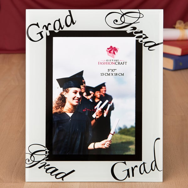 Graduation White/Black Glass 5 x 7 Picture Frame 23672181