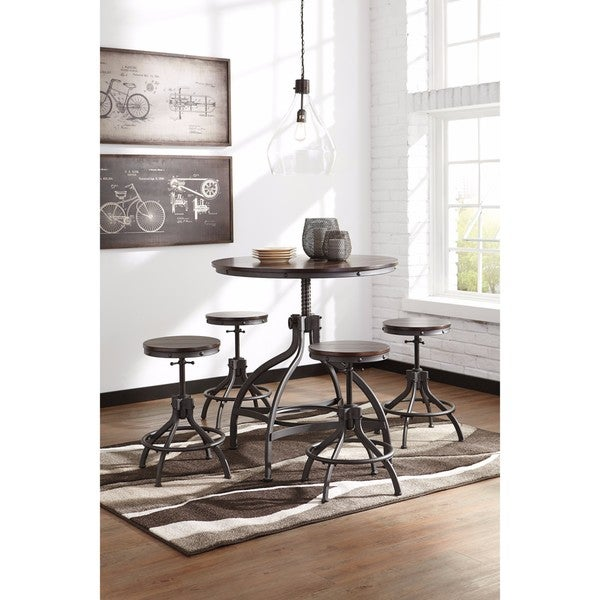 Signature Design by Ashley Odium Brown 5-Piece Counter Table Set 23672316