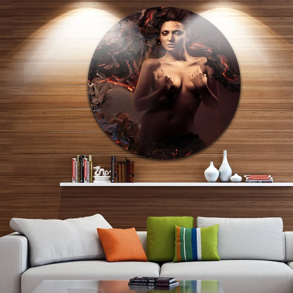 Designart 'Sexy Nude Woman in Burning Paper' Art Portrait Circle Wall Art 23673905