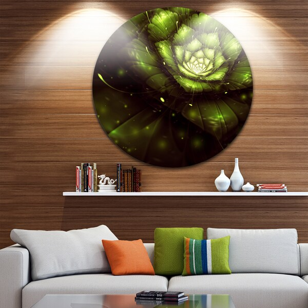 Designart 'Green Flower with Sun Rays' Floral Digital Art Disc Metal Wall Art 23674677