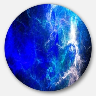 Designart 'Blue Sparkling Lightning' Abstract Digital Art Round Wall Art