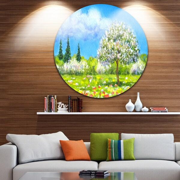 Designart 'Tree in Different Seasons' Watercolor Landscape Disc Metal Artwork 23691632