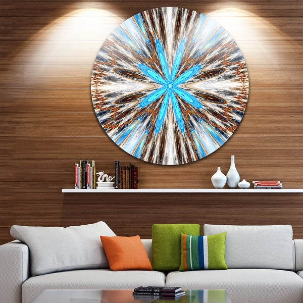Designart 'Flowers with Radiating Rays' Abstract Digital Art Round Metal Wall Art 23692491