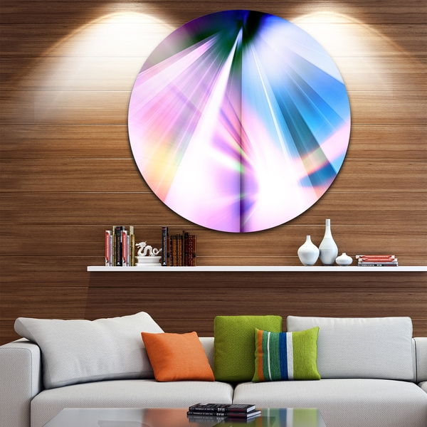 Designart 'Rays of Speed Blue' Abstract Digital Art Circle Wall Art 23693754