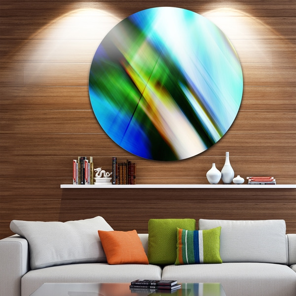 Designart 'Rays of Speed Blue Green' Abstract Digital Art Disc Metal Artwork 23693892