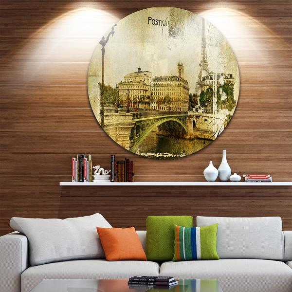 Designart 'Vintage Paris' Digital Art Cityscape Disc Metal Artwork 27845454