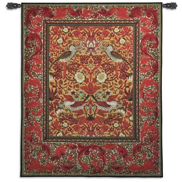 William Morris 'Strawberry Thief' Red Wall Tapestry 23697655
