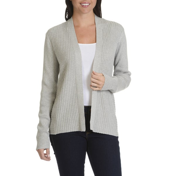 Verve Ami Women's Acrylic Blend Ribbed Open Front Cardigan 23699199