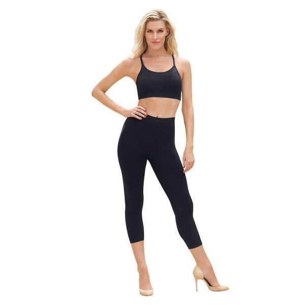 Active by EuroSkins Women's Black Lycra and Spandex Seamless Capri Leggings 23704622