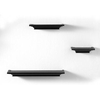 InPlace 8-inch Black Wall Ledge Set (Set of 3)