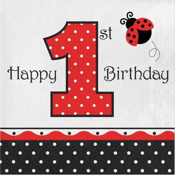 Ladybug Fancy 1st Birthday Lunch Napkins (Case of 12 Packs, 16 Each) 23715902