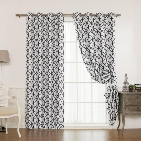 Aurora Home Faux Silk Reverse Geometric Trellis Print Curtain Panel Pair - 52 x 84 23716920
