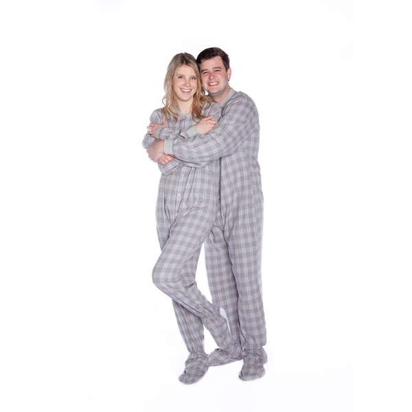 Big Feet Pajamas Unisex Adult Grey and White Cotton Flannel Plaid Footed One-piecePajamas 23730275