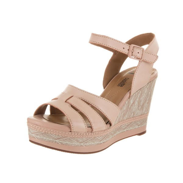 Women's Clarks Zia Noble Wedge Ankle Strap Sandal Nude Cow Full Grain Leather 23737304