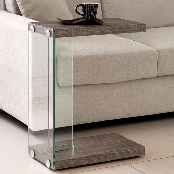 Modern Weathered Grey Sleek Design Snack Accent Table with Tempered Glass Base 23751950