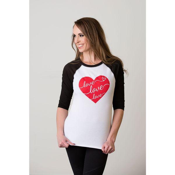 Women's White and Black Cotton Valentine's Love Heart Tee