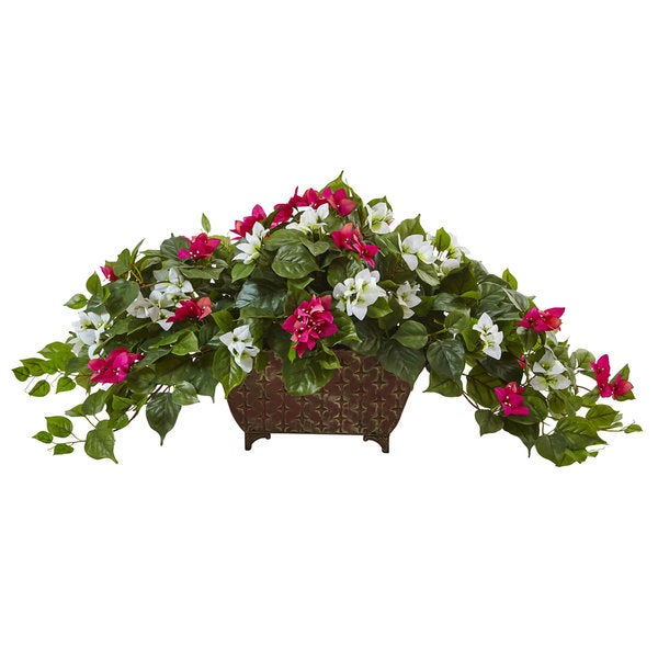 Nearly Natural Beauty White Bougainvillea in Metal Planter 23776315