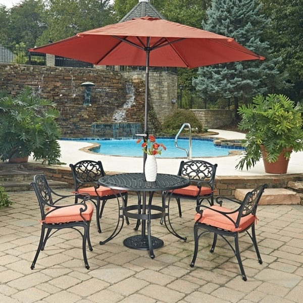 Biscayne Black Round 7 Pc Outdoor Dining Table, 4 Arm Chairs with Cushions & Umbrella with Base by Home Styles 23778289
