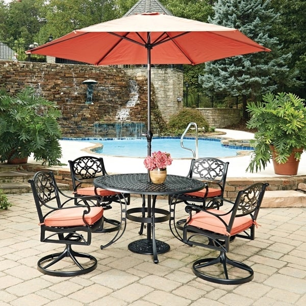 Biscayne Black Round 7 Pc Outdoor Dining Table, 4 Swivel Rocking Chairs with Cushions & Umbrella with Base by Home Styles 23778313