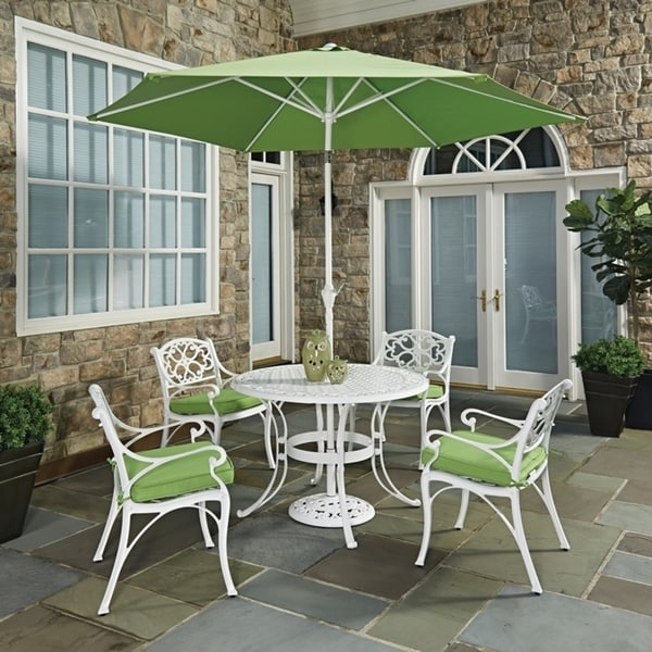 Biscayne White Round 7 Pc Outdoor Dining Table, 4 Arm Chairs with Cushions & Umbrella with Base by Home Styles 23779435