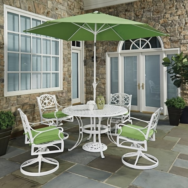 Biscayne White Round 7 Pc Outdoor Dining Table, 4 Swivel Rocking Chairs with Cushions & Umbrella with Base by Home Styles 23779485