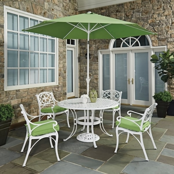 Biscayne White Round 7 Pc Outdoor Dining Table, 4 Arm Chairs with Cushions & Umbrella with Base by Home Styles 23779505