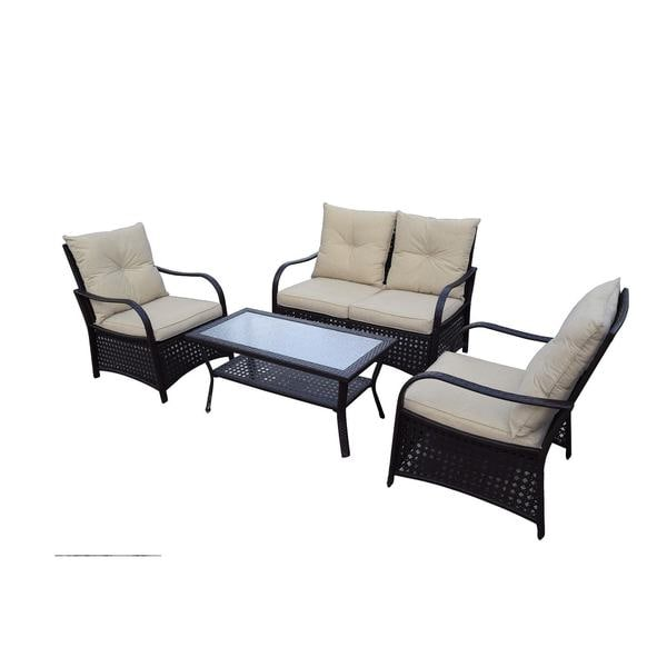 DG Casa Catalina Steel Rattan Loveseat, 2 Chair and Table Set 23779965