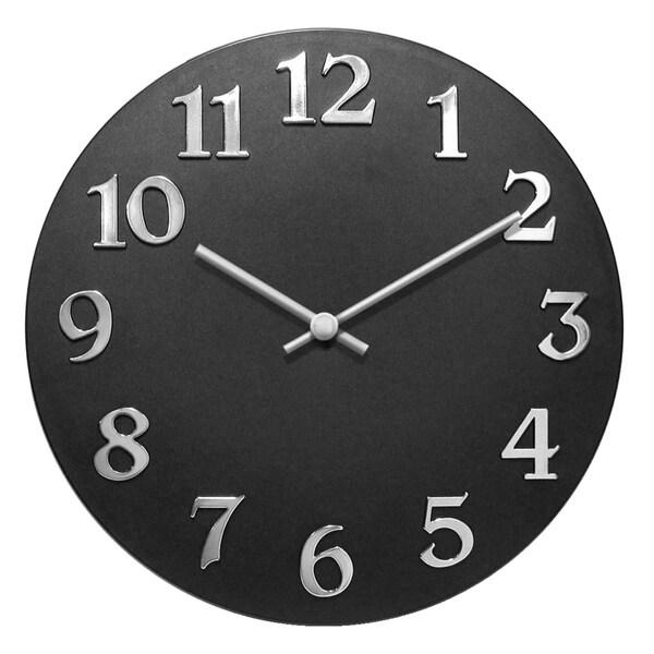 Infinity Instruments Vogue Black Aluminum 12-inch Round Wall Clock 23780770