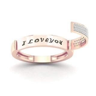 De Couer IGI Certified 10k Rose Gold 1/6ct TDW Diamond Say It Ring