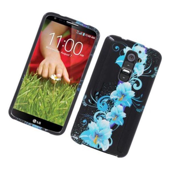 Insten Black/ Blue Flowers Hard Snap-on Glossy Case Cover For LG G2 D800 ATT 23809412