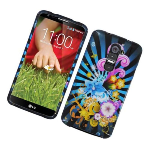 Insten Blue/ Colorful Fireworks Hard Snap-on Glossy Case Cover For LG G2 D800 ATT 23809701